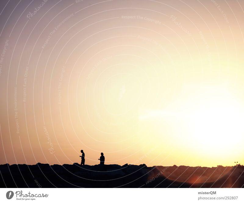 Sunwalkers. Kunst ästhetisch Zufriedenheit Stress Sorge Sonnenlicht Sonnenuntergang Sonnenstrahlen Sonnenbad Sonnenenergie Erholung Surrealismus gelb Futurismus