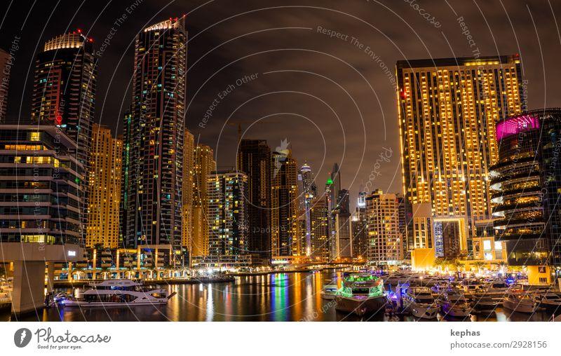 Dubai Marina at night Stadt Architektur gelb Gefühle Gebäude orange modern Hochhaus ästhetisch Zukunft groß Sehenswürdigkeit Skyline Bauwerk Hafen Asien