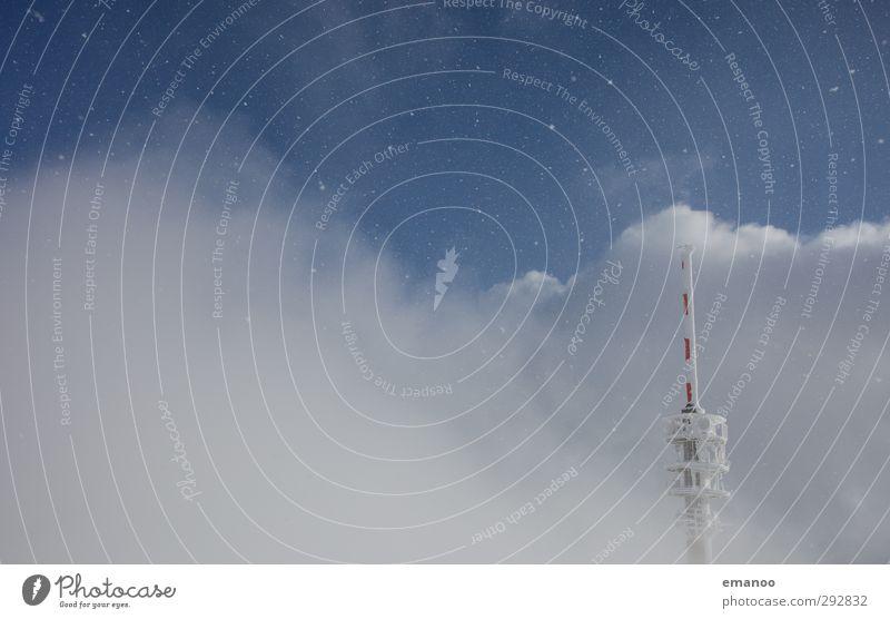 Wolkenturm Himmel Natur Landschaft Wolken Schnee Schneefall Luft Eis Wetter Wind Klima hoch Zukunft Telekommunikation Technik & Technologie Turm