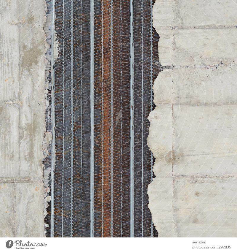 Stahlbeton Baustelle Bauarbeiter Handwerk Haus Gebäude Mauer Wand Fassade grau Stahlträger Beton Armierung bauen Konstruktion Farbfoto Innenaufnahme Nahaufnahme