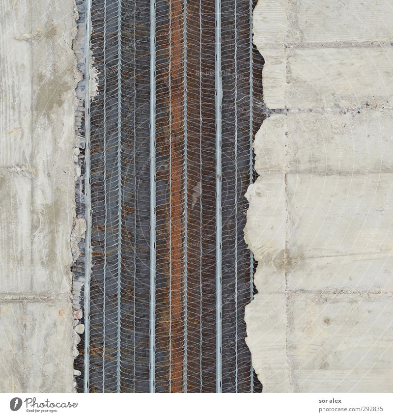 Stahlbeton Haus Wand Mauer grau Gebäude Fassade Beton Baustelle Handwerk Konstruktion bauen Bauarbeiter Stahlträger Armierung