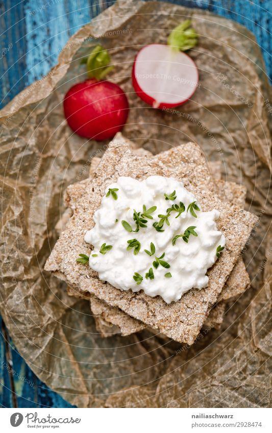 Knäckebrot mit Radieschen Lebensmittel Käse Joghurt Milcherzeugnisse Gemüse Teigwaren Backwaren Kräuter & Gewürze Knäckerbrot Frischkäse Ernährung Bioprodukte