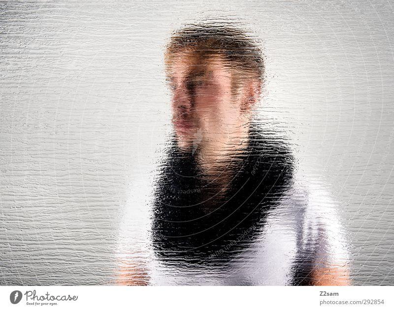 spiegelbild Stil Junger Mann Jugendliche 1 Mensch 18-30 Jahre Erwachsene T-Shirt Schal kurzhaarig Oberlippenbart Coolness kalt Wahrheit träumen Erschöpfung