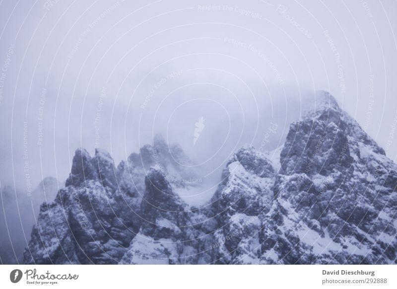 Besteigung verlegt Himmel blau Ferien & Urlaub & Reisen weiß Landschaft Wolken Winter Berge u. Gebirge Schnee Schneefall Felsen Eis Nebel wandern Frost Alpen