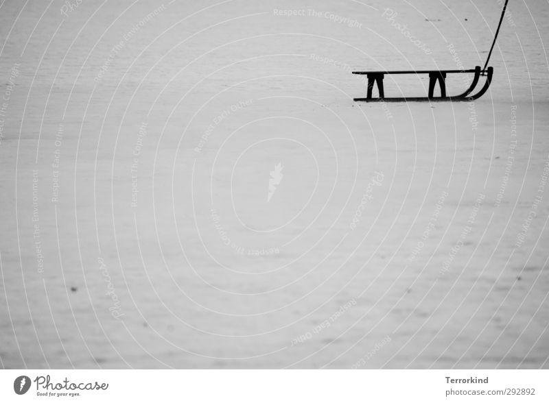 fuck it. I'm out Winter Schnee Winterurlaub Natur Wasser Eis Frost grau schwarz weiß Freude Vorfreude Sport Rodeln ziehen Schwarzweißfoto Außenaufnahme