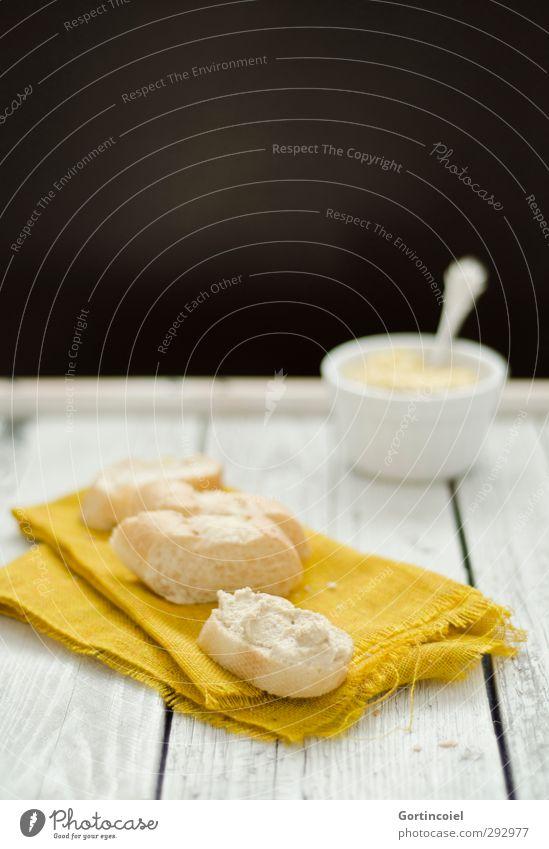 Hummus Lebensmittel frisch Ernährung Foodfotografie lecker Frühstück Brot Schalen & Schüsseln Backwaren Teigwaren Vegetarische Ernährung Büffet Holztisch Brunch Baguette Orientalische Küche