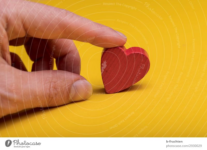 Herzchen Feste & Feiern Valentinstag Hochzeit Geburtstag Finger Dekoration & Verzierung Holz Zeichen wählen genießen liegen gelb rot Freundschaft Liebe