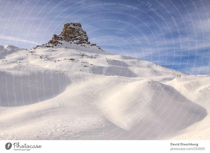 Auf 2450m ist noch alles in Ordnung Himmel blau Ferien & Urlaub & Reisen weiß Landschaft Wolken Winter Berge u. Gebirge Schnee braun Felsen Eis Schönes Wetter