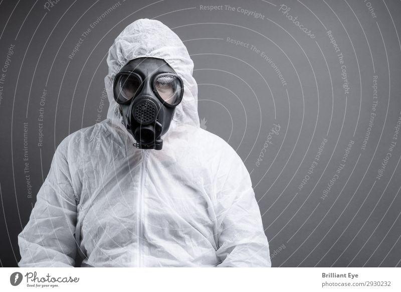 Smogschutz Labor Beruf Wissenschaften Mensch maskulin Mann Erwachsene 1 30-45 Jahre Umwelt Klimawandel Arbeitsbekleidung Anzug Arbeitsanzug Atemschutzmaske