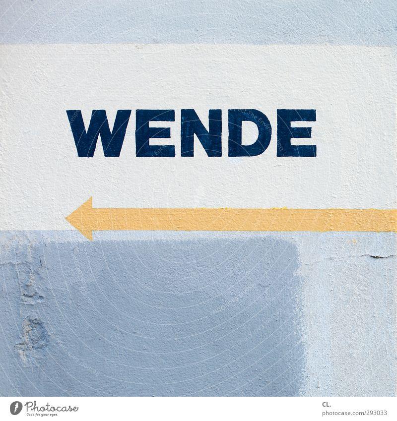 wende Haus Mauer Wand Fassade Zeichen Schriftzeichen Ziffern & Zahlen Schilder & Markierungen Linie Pfeil blau orange Beginn Wandel & Veränderung Wende umkehren