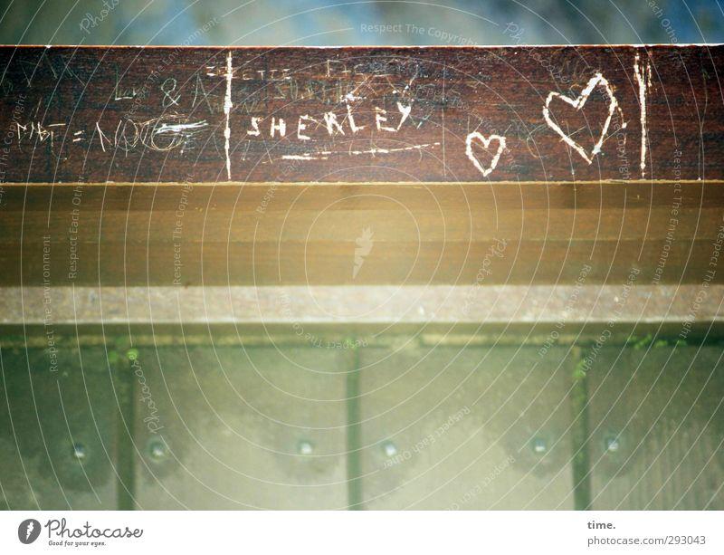 HOT LOVE | erstmal für immer Gemälde Brückengeländer Dekoration & Verzierung Holz Zeichen Schriftzeichen Graffiti Herz hell Wärme Vertrauen Sympathie Liebe