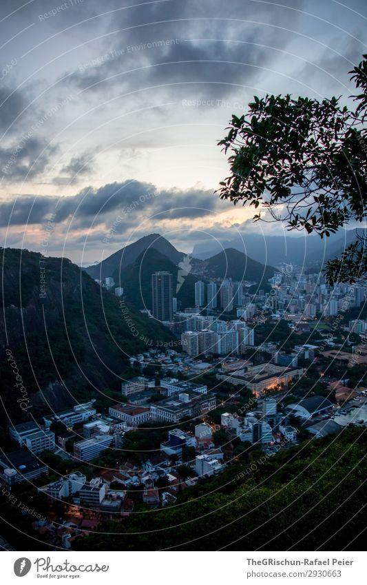 Rio de Janeiro Umwelt Natur Landschaft blau schwarz silber weiß Sonnenuntergang Stadt Brasilien Berge u. Gebirge Hügel Hochhaus Südamerika Farbfoto