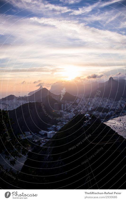 Zuckerberge Umwelt Natur blau gelb gold violett schwarz Wolken Berge u. Gebirge Sonnenuntergang Gegenlicht Stadt Großstadt Rio de Janeiro Brasilien Haus