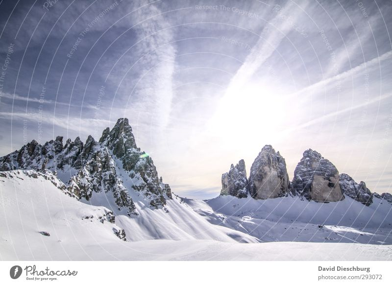 Glanz des Winters Himmel blau Ferien & Urlaub & Reisen weiß Landschaft Wolken Ferne Berge u. Gebirge Schnee Freiheit Felsen Eis glänzend wandern Schönes Wetter