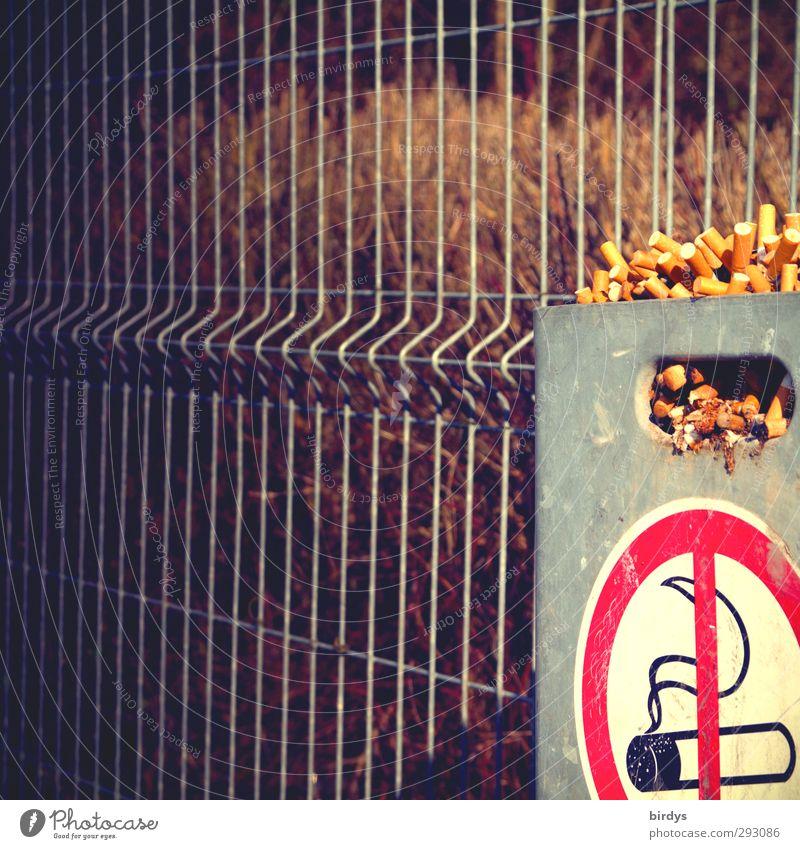 Ausgrenzung Rauchen Zeichen Hinweisschild Warnschild authentisch Ekel Völlerei Drogensucht Ärger Gesundheit Kontrolle Leidenschaft Sucht Verbote überfüllt