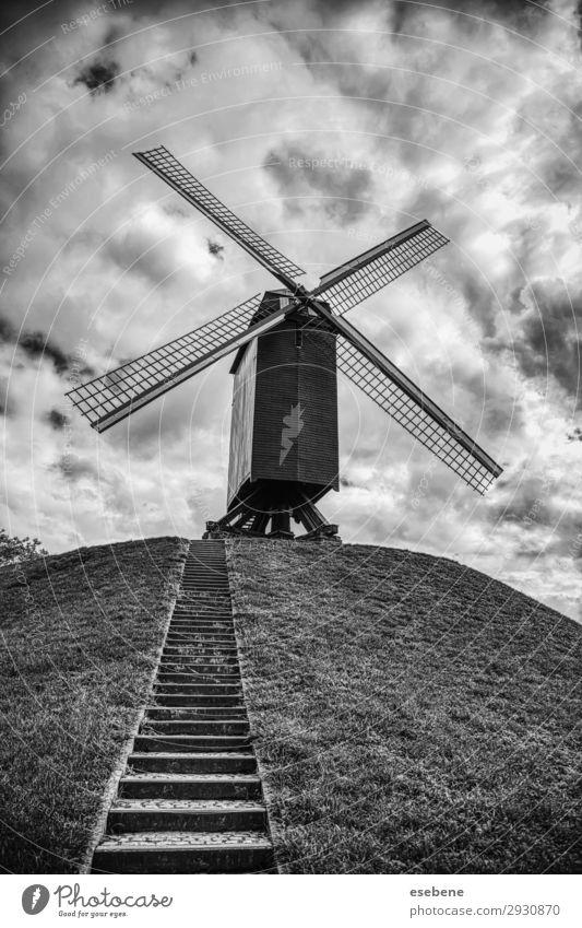 Alte Mühle in Brügge schön Ferien & Urlaub & Reisen Tourismus Sommer Haus Natur Landschaft Himmel Wind Gras Hügel Gebäude Architektur Holz alt historisch blau