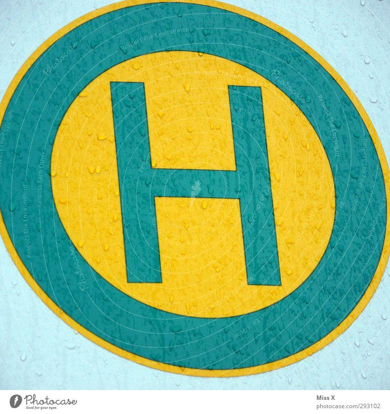 H gelb Schilder & Markierungen nass Schriftzeichen Hinweisschild Zeichen Bus Haltestelle Warnschild Verkehrszeichen