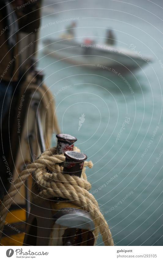 Bootsfahrt im Nebel Herbst schlechtes Wetter Venedig Verkehr Verkehrsmittel Schifffahrt Kanal Wasserstraße Wasserfahrzeug Fähre Güterverkehr & Logistik