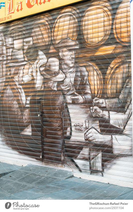 Kunst Stadt Hauptstadt braun schwarz weiß Buenos Aires Argentinien La Boca malen Tourismus Farbfoto Außenaufnahme Menschenleer Tag