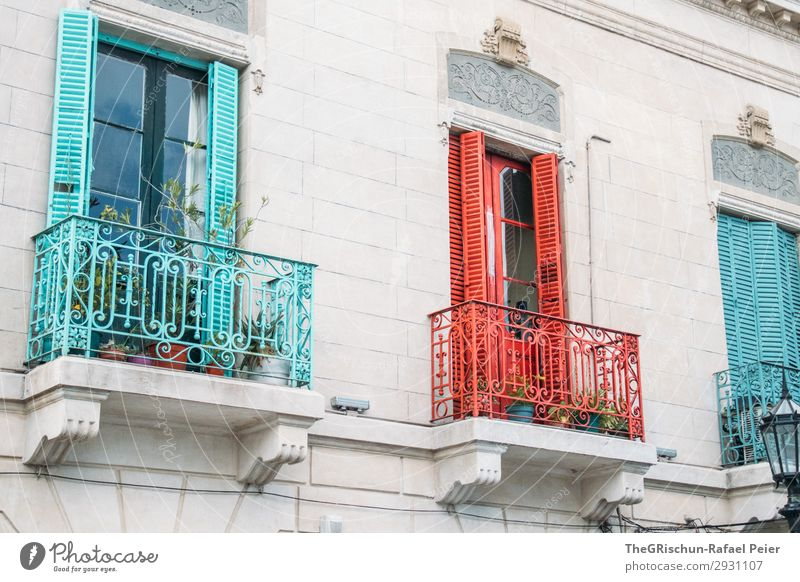 Farbenfroh Stadt rot türkis weiß Balkon La Boca mehrfarbig Kunst Haus Stadtteil Argentinien Buenos Aires Farbfoto Menschenleer Tag