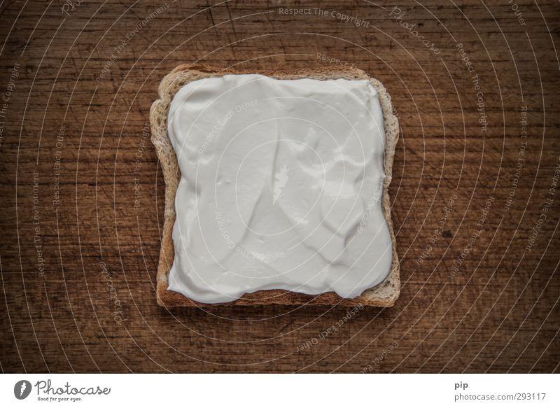 quarkquadrat weiß dunkel braun Ernährung einfach Foodfotografie lecker Frühstück Brot Holzbrett Diät Schneidebrett Milcherzeugnisse Toastbrot Quark Aufstrich
