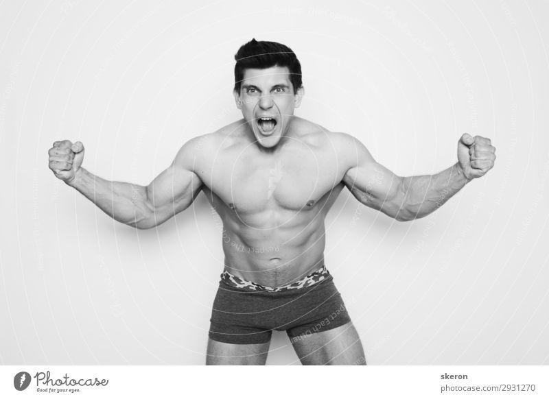 emotionaler Bodybuilder mit einem muskulösen Körper Lifestyle elegant schön Körperpflege Wellness Freizeit & Hobby Entertainment Party Veranstaltung Sport