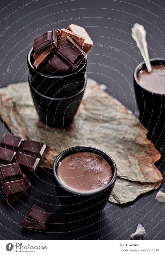 Heiße Schokolade schwarz braun Lebensmittel Getränk Ernährung süß heiß lecker Süßwaren Dessert Becher Kakao Kaffeetrinken Heißgetränk Schokoladenbruch