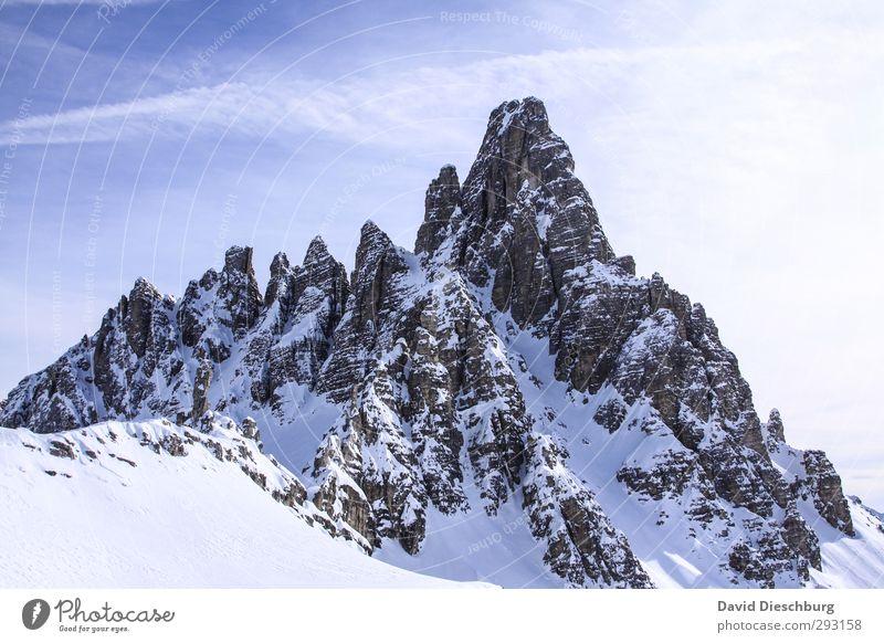 Zeiten des Aufstiegs Himmel blau Ferien & Urlaub & Reisen weiß Landschaft Wolken Winter Berge u. Gebirge Schnee grau Felsen Eis wandern Schönes Wetter Abenteuer