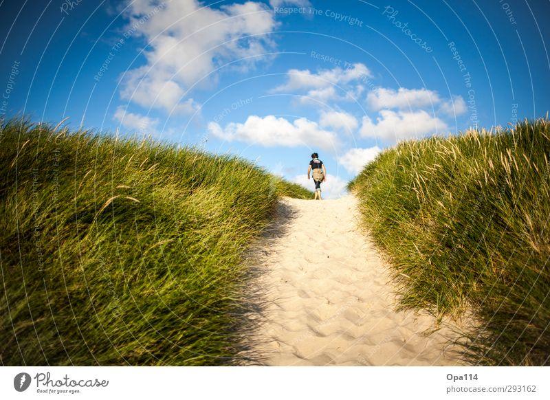 Long Way Home III Mensch Himmel Natur Jugendliche blau grün weiß Sommer Sonne Landschaft Junge Frau Ferne Erwachsene feminin Küste Wetter