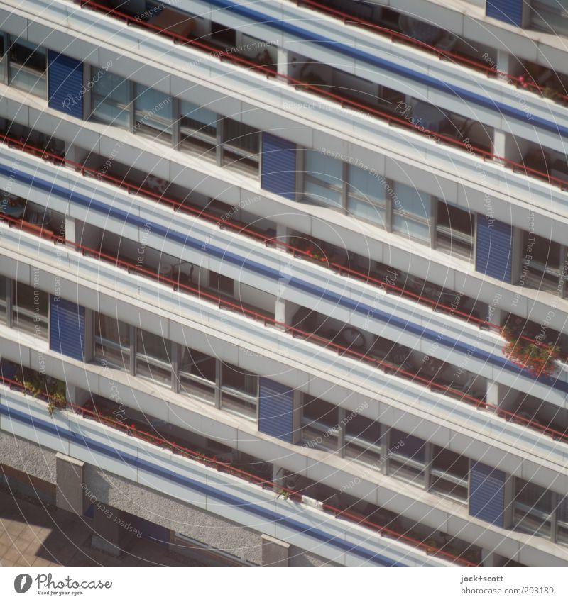 Schicht auf Schicht Stadt Sommer Blume Fenster Gebäude Linie Fassade Ordnung Häusliches Leben modern Perspektive geschlossen Beton einfach Streifen Niveau