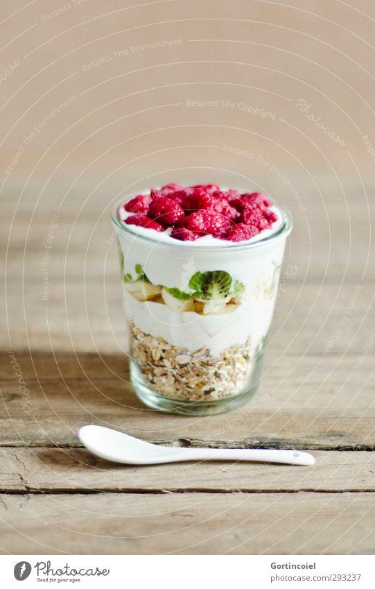 Buntes Frühstück Gesundheit Lebensmittel Frucht Glas frisch Ernährung Getreide Apfel lecker Bioprodukte Diät Löffel Vegetarische Ernährung Himbeeren Müsli