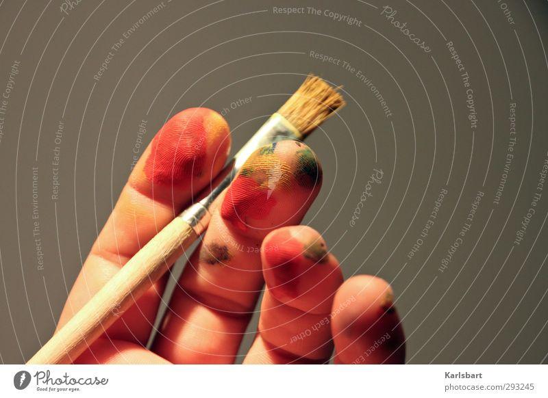 Fingerfarben. Hand Farbe Freude Kunst Freizeit & Hobby lernen einzigartig Kreativität Idee Bildung zeichnen Kindergarten Schminke Inspiration Künstler Pinsel