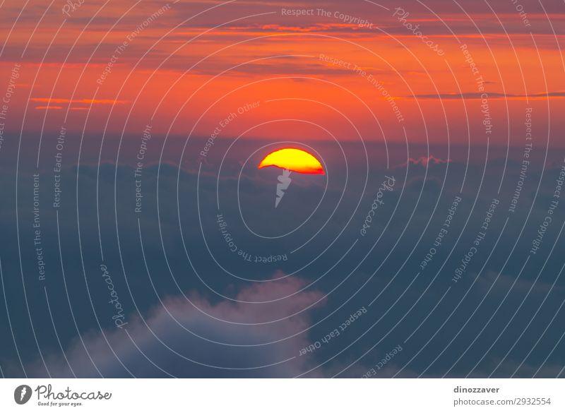Sonnenuntergang hinter den Wolken schön Ferien & Urlaub & Reisen Tourismus Freiheit Sommer Berge u. Gebirge Skifahren Umwelt Natur Himmel Baum Park Wald Hügel