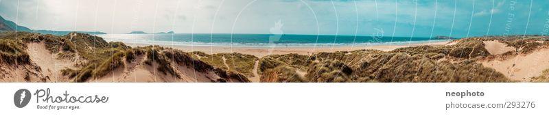 Wales Natur Landschaft Sand Wasser Himmel Horizont Sonne Sonnenlicht Wellen Küste Strand Bucht Meer Atlantik Abenteuer Freiheit Freude Unendlichkeit Stranddüne