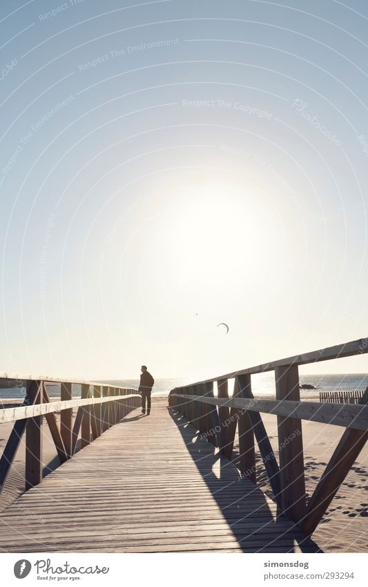 relajar Mensch Natur Mann Jugendliche Ferien & Urlaub & Reisen Sonne Meer Erwachsene Ferne Junger Mann Wärme Wege & Pfade Glück Küste Sand Horizont