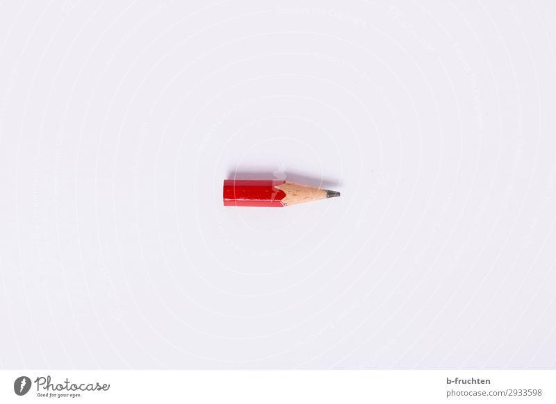 alter Bleistiftrest lernen Büroarbeit Wirtschaft Business Schreibwaren Papier Schreibstift wählen rot Rest klein Verbrauchsmaterial verbrauchen 1 schreiben
