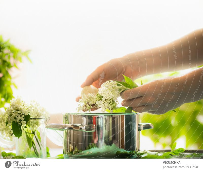 Frauenhänden zubereiten Holunderblüten Mensch Natur Gesunde Ernährung Sommer Hand Lebensmittel Hintergrundbild Erwachsene gelb feminin Stil Garten Design Glas