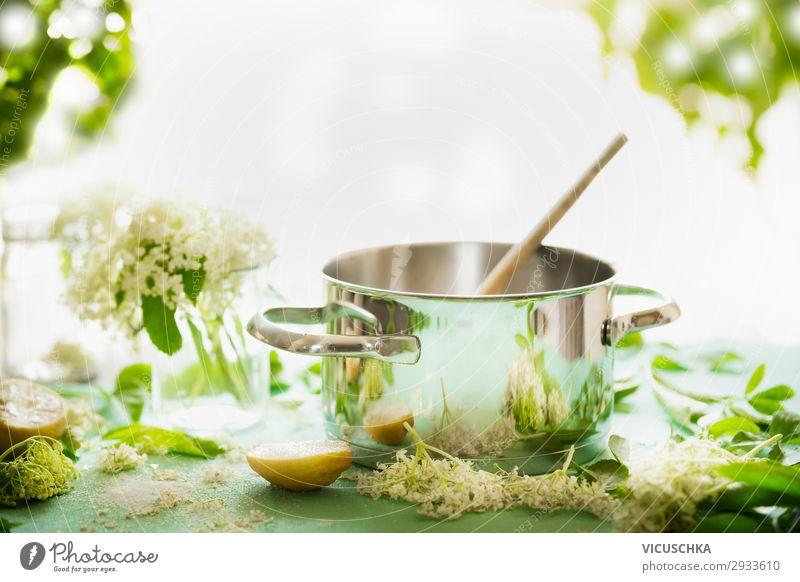 Holunderblüten Sirup kochen Natur Gesunde Ernährung Sommer grün Gesundheit Lebensmittel Hintergrundbild Lifestyle gelb Stil Design Tisch Getränk Süßwaren