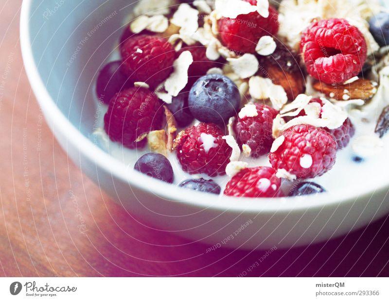 Frühstücks-Power. Gesunde Ernährung Kunst Zufriedenheit frisch ästhetisch lecker Schalen & Schüsseln Vegetarische Ernährung Milch Blaubeeren Himbeeren