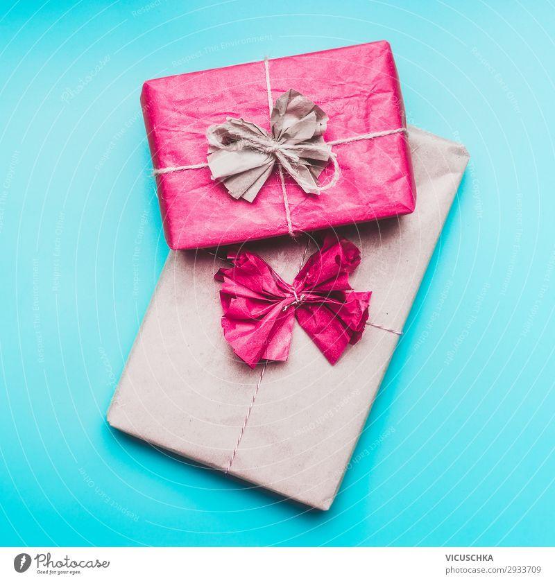 Geschenke auf blaue Hintergrund Design Freude Veranstaltung Feste & Feiern Papier Verpackung Dekoration & Verzierung trendy rosa greeting present wrapping paper