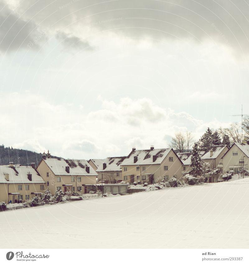Lebens(t)raum Umwelt Landschaft Wolken Horizont Winter Klima Schönes Wetter schlechtes Wetter Wind Nebel Schnee Wald Hügel Dorf Stadtrand Skyline Menschenleer