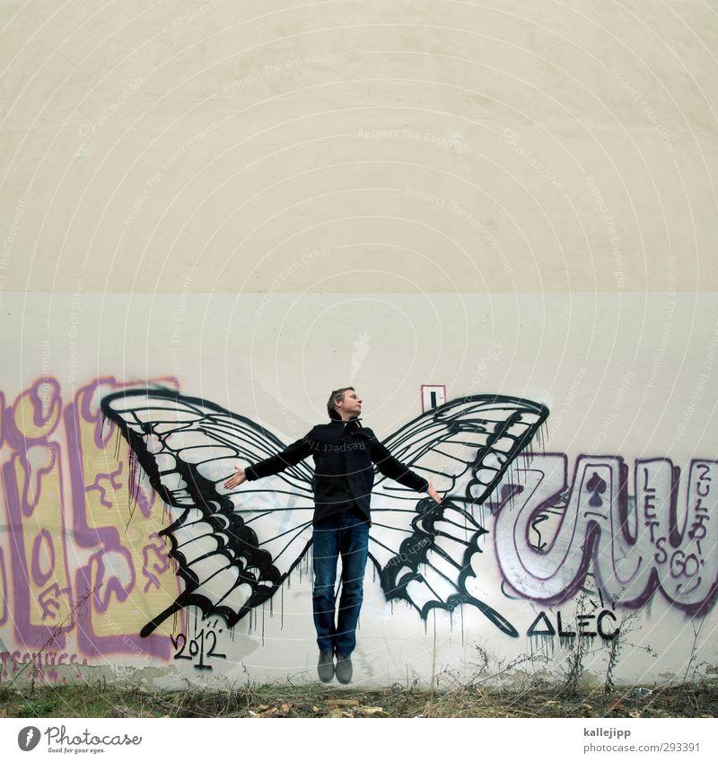 red bull Mensch maskulin Mann Erwachsene Körper 1 Natur Tier Schmetterling Flügel Zeichen Graffiti Freiheit Kreativität frei Insekt springen Engel Subkultur
