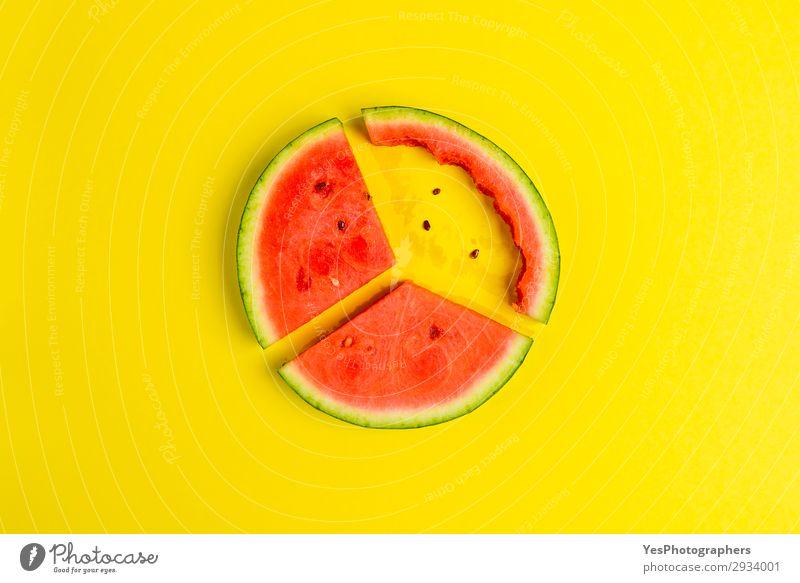 Flachbild mit Scheiben aus roter Wassermelone Frucht Dessert Ernährung Essen Vegetarische Ernährung Diät Gesunde Ernährung Sommer frisch lecker saftig gelb grün