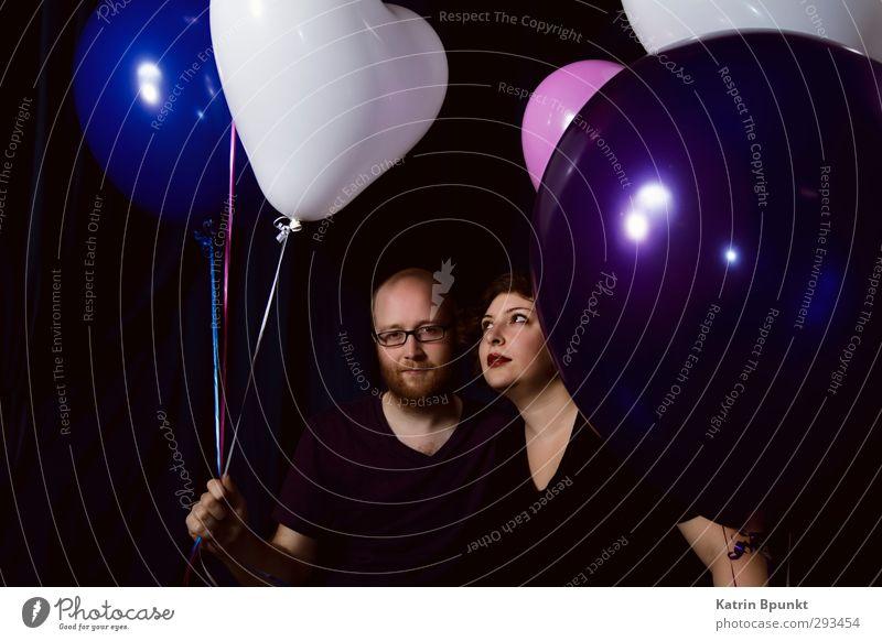Mis-Shapes Party Feste & Feiern Mensch maskulin feminin Freundschaft 2 18-30 Jahre Jugendliche Erwachsene Luftballon schön violett schwarz weiß Gefühle Stimmung