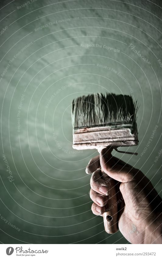 Arbeiterdenkmal heimwerken Pinsel breit Hand Finger 1 Mensch Mauer Wand nass graugrün Anstrich Erfolg triumphal Borsten Farbstoff Stolz