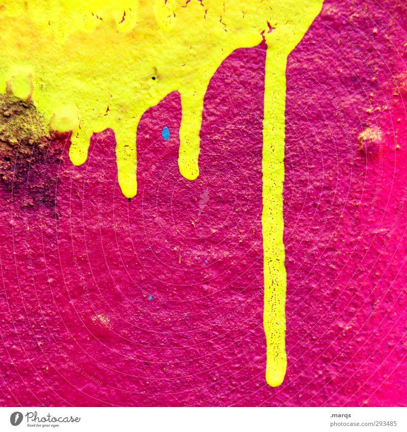 Liquid Lifestyle Stil Design Anstreicher Mauer Wand Graffiti leuchten Coolness Flüssigkeit trendy einzigartig retro verrückt gelb rosa chaotisch Farbe fließen
