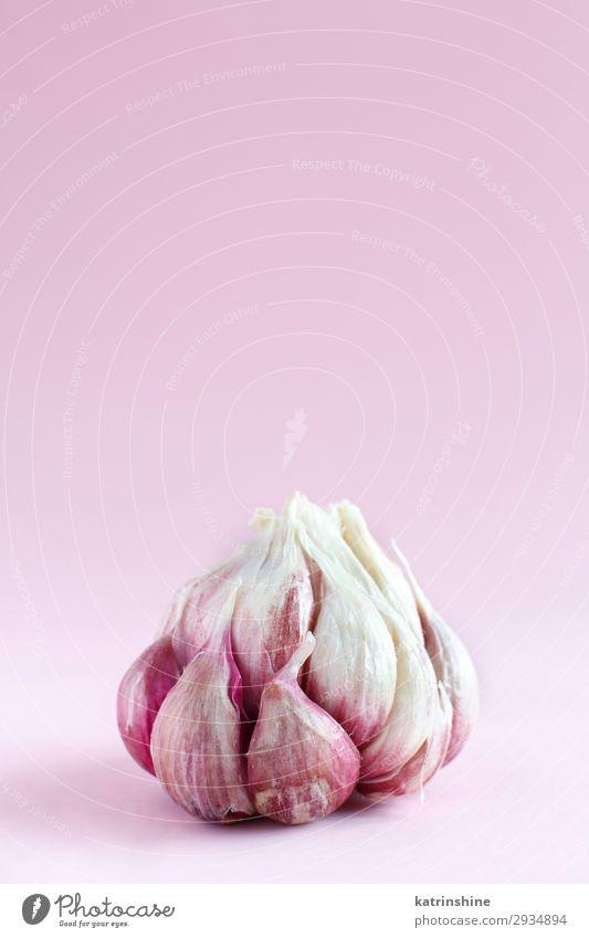 Frischer Knoblauch auf hellrosa Hintergrund Gemüse Kräuter & Gewürze Vegetarische Ernährung frisch Verfall Knolle ingrerient Gewürznelke Lebensmittel Gesundheit