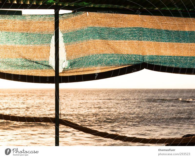 M+M Ferien & Urlaub & Reisen Ferne Freiheit Sommer Sommerurlaub Sonne Strand Meer Insel Wellen Wolkenloser Himmel Horizont Schönes Wetter Terrasse Markise Seil