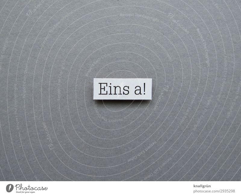 Eins a! 1a Qualität perfekt sehr gut bestens Bestnote spitzenmäßig Buchstaben Wort Satz Schriftzeichen Text Typographie Letter Sprache Lateinisches Alphabet