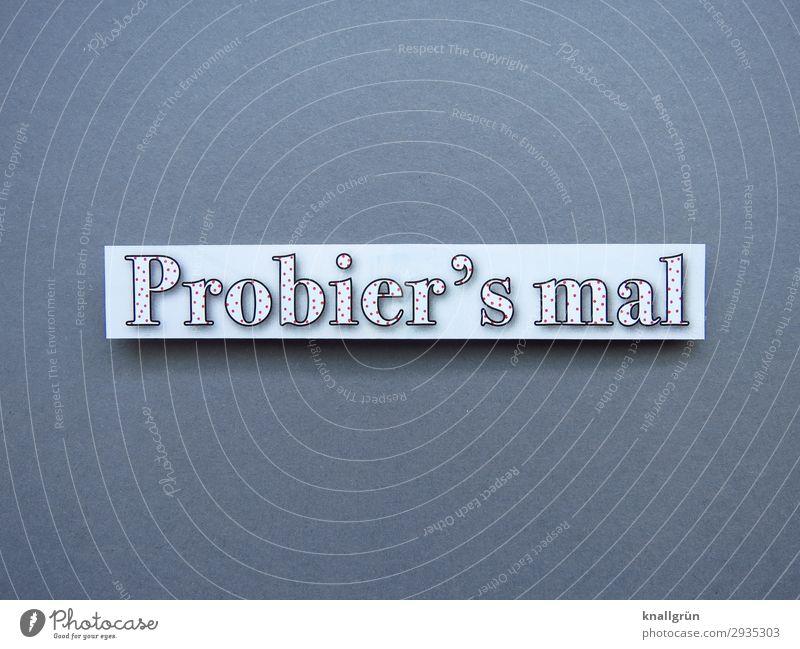 Probier's mal weiß Gefühle grau Schriftzeichen Kommunizieren Schilder & Markierungen Beginn Hilfsbereitschaft Neugier Mut Inspiration Vorfreude Begeisterung